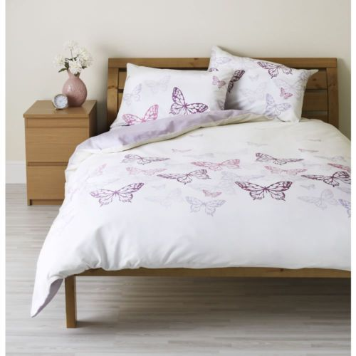 Butterfly Butterflies KING SIZE DUVET COVER White Ivory Pink Purple BNWT