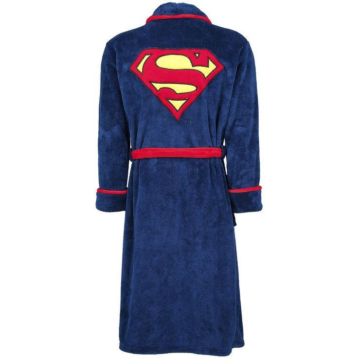 """Vestaglia """"Logo"""" di #Superman blu con logo del supereroe ricamato su fronte e retro, 2 tasche laterali e cintura rossa. Lunghezza schiena: 123 cm circa."""