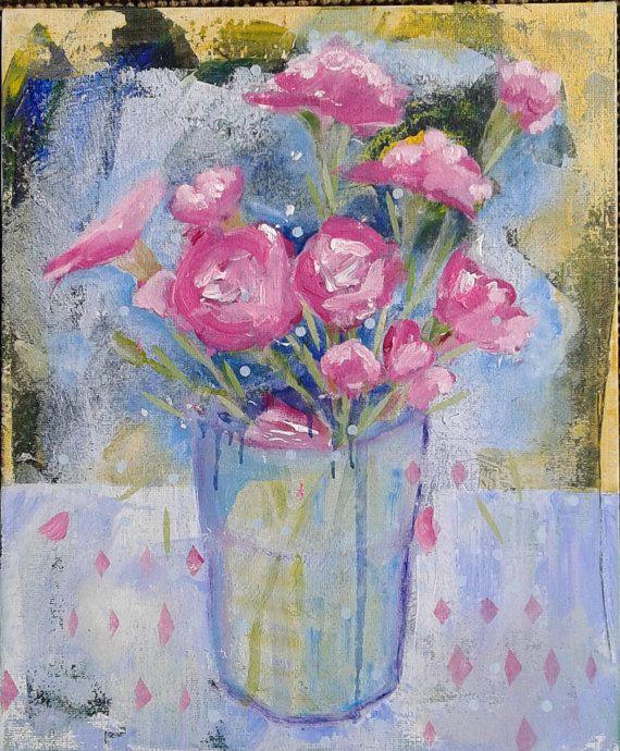 Expressieve kunst schilderij originele acryl roze bloemen