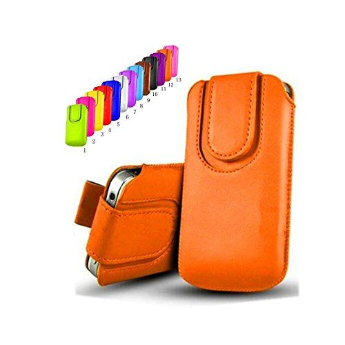 awesome uFashion3C iPhone 6 Plus 5.5'' Magnetic PU Leather Sleeve Pouch Case with Pull Tab (With Room for a Thin Case) -13 Colors- Retail Packaging (Orange)