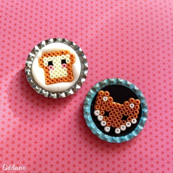 idée : magnets avec des perles hama et des capsules !
