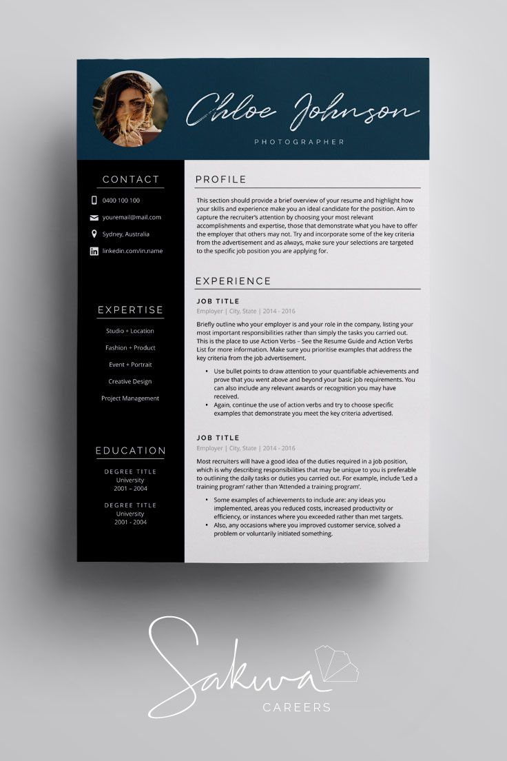 Resume Template in A4 + US Letter for Word + Pages. 3 Page Resume Design with Cover Letter + References