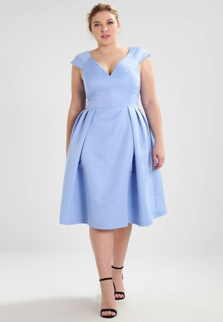 """Chi Chi London Curvy. BLAIR - Cocktail dress / Party dress - blue. Outer fabric material:100% polyester. Pattern:plain. Care instructions:Hand wash only. Neckline:Low V-neck. Sleeve length:Extra short. Back width:15.5 """" (Size 16). Fit:tailored. Our model's height:..."""