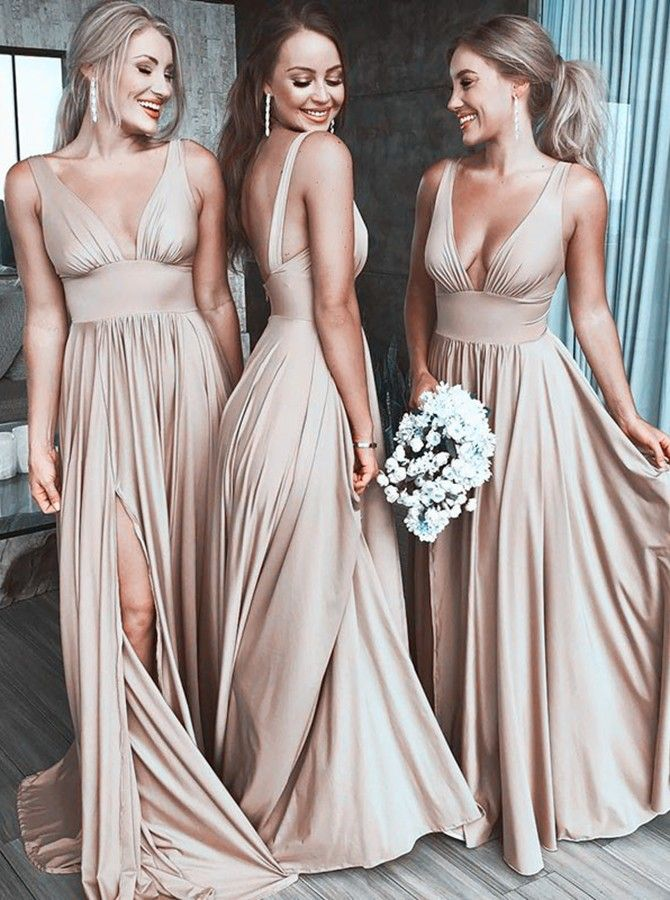 A-Line V-Neck Satin Floor Length Prom Evening Bridesmaid Dress with Split -  Wedding Party Dresses - US  99.99  b21cd545fe0a