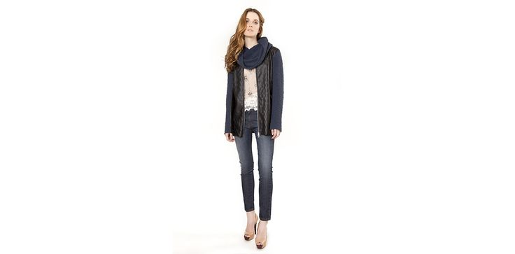 Leather and knit jacket, basic tappered jeans, embroidered jewel blouse. Lookbook Otoño / Invierno 2013 Lio de Faldas