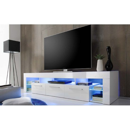 Sorrento Large Tv Stand In White High Gloss With Blue Led