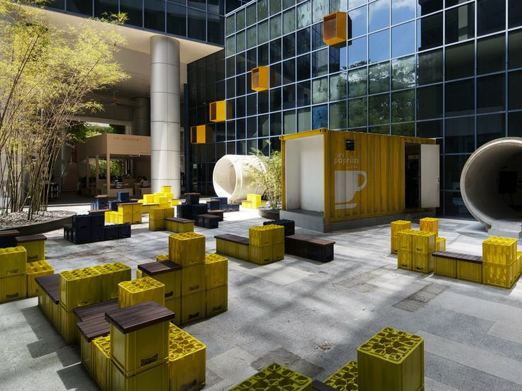 Galen Lobby Retrofitted With Colorful Beer Crate Furniture in Singapore | Crates Lobbies and Temporary wall & Galen Lobby Retrofitted With Colorful Beer Crate Furniture in ... Aboutintivar.Com