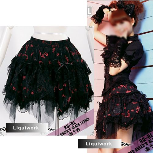 Black And Red Lace Knee Length Gothic Fashion Tutu Skirt For Women