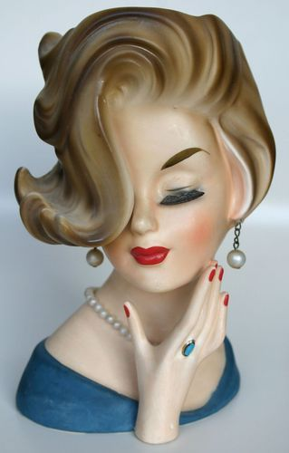"Stunning 7"" Vintage Inarco Lady Head Vase E 2104 Flip do Pearls Hand | eBay"