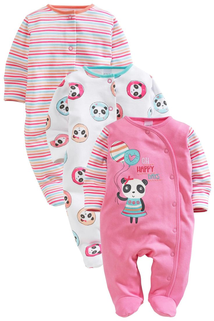 Buy Pink Panda Sleepsuits Three Pack (0mths-2yrs) from the Next UK online shop