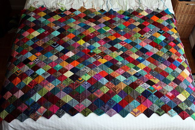 Now all of you send your scrap sock yarn! Mitered Squares Knitted Blanket pic only