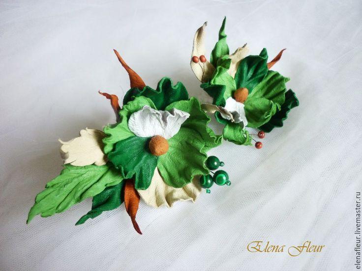 """Купить Сет из 2 кожаных брошей """"Яблочный спас"""" - зеленый, цветы из кожи, кожаные цветы"""