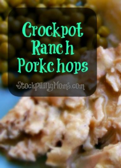 This crockpot ranch pork chops recipe only needs three ingredients - 6 pork chops, 1 can cream of chicken soup/1 can water, 1 package ranch seasoning.