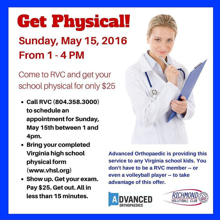 Get physical! Drs from @Advanced Orthopaedics will perform VA HS - school physical form