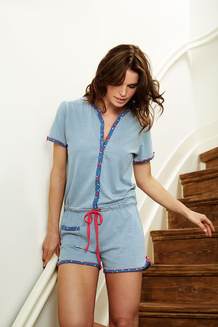 Rebelle stripey blue & white short onsie with cute little red bows and tie-waist