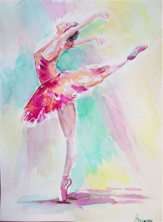 Buy Pink Ballerina 2, Watercolor by Antigoni Tziora on Artfinder. Discover thousands of other original paintings, prints, sculptures and photography from independent artists.