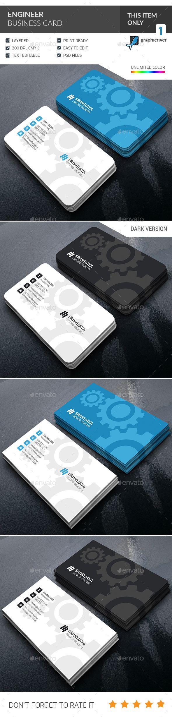 Engineer Business Card Template PSD #design Download: http://graphicriver.net/item/engineer-business-card-/14342938?ref=ksioks