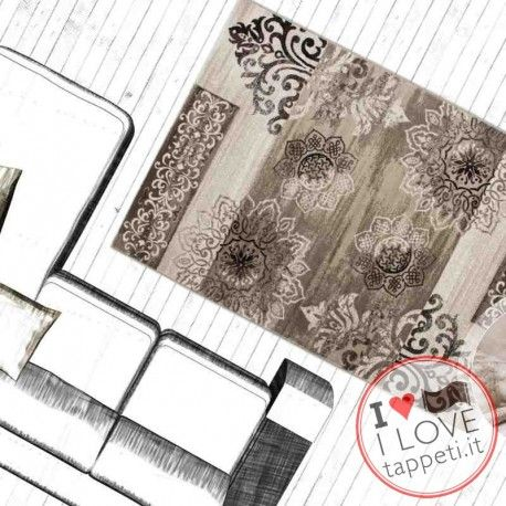 Tappeto Belgium Namur beige, stile classico, fatto in Turchia con spessore di cm.1.5, disponibile nelle seguenti dimensioni 80x150, 120x170, 80x300 passatoia, 160x230, 200x290