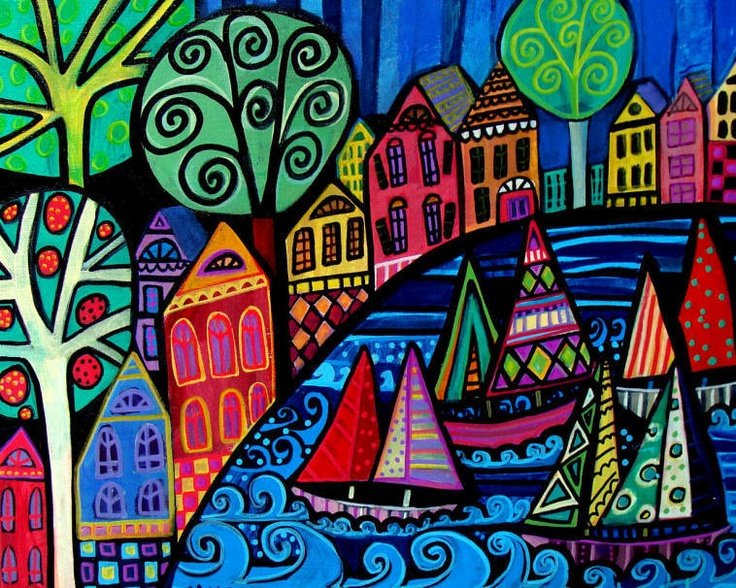 Sailboat Art Print Poster Painting Saltbox Houses Sailboats Primitive Folk Art