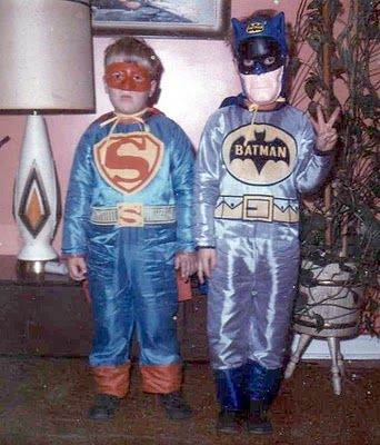 Vintage photo of trick or treaters dressed in Superman & Batman Halloween masks & costumes