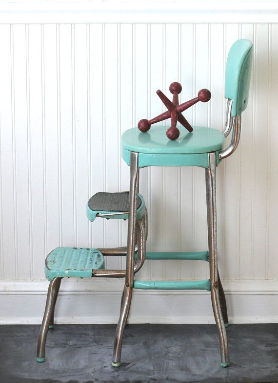 Circa 1950s Cosco Fold Out Step Stool Chair Aqua By