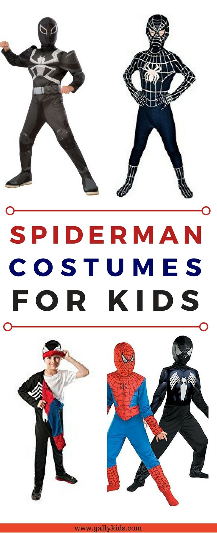 Black spiderman costume for toddlers and older kids. Love this venom suit. Especially love the reversible one for kids who change their minds on which Spidey they're going to be! #spidermancostumes