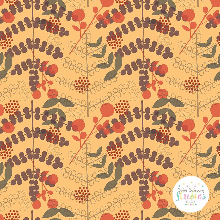 Scattered Autumn Day Surface Pattern created by Claire Salisbury Studios during @makeitindesign #winterschool2018