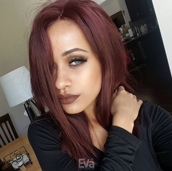 Love this medium reddish brown hair. Get this wig now at EvaWigs.com #EvaWigs #humanhairwig #fulllacewig #wavyhair #reddishbrown