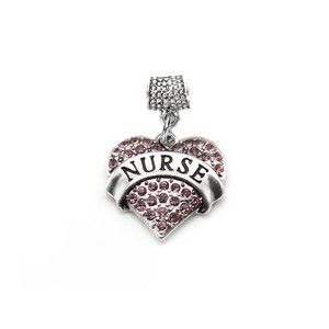 """Nurse Pave Heart Pandora Compatible Charm. This reps thy r charmed with Dave & I direction of CBP & Domingo and Pico Union think it is golden. Thank you!  Please help 'Fund Us"""" !!"""
