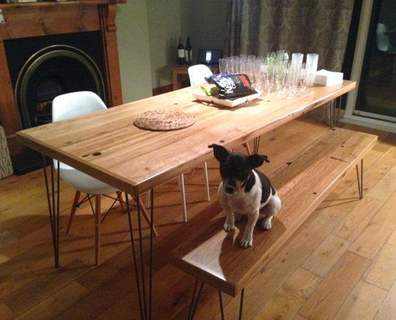 Oak Dining Table  Reclaimed Timber  Hairpin Legs by WickedBoxcar, £1160.00