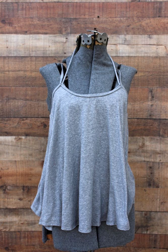 Free People Grey Cami Top Spaghetti Strap NEW NWT Trapeze So In Love #FreePeople #TankCami