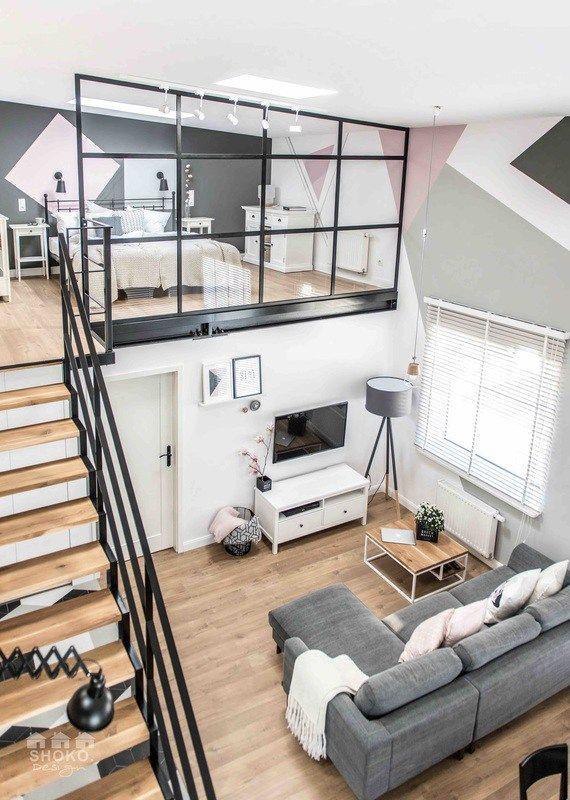 Scandi / Nordic split level studio apartment with gorgeous wooden floor & grey sofa #Design