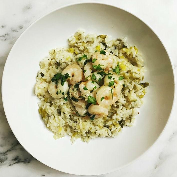 """Leeks Risotto With Garlic Butter Shrimp """"Rye and Butter"""" Recipost"""
