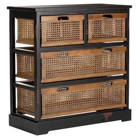 "Pine storage cabinet with a distressed finish and 4 wicker storage baskets. Product: Storage cabinetConstruction Material: Pine woodColor: Black and brownFeatures:  Transitional clean design with functionality and versatilityCharming designWill enhance any decor  Dimensions: 30.3"" H x 29.1"" W x 13.8"" D"