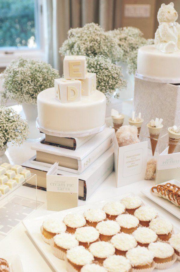 white dessert table – winter baby shower ideas