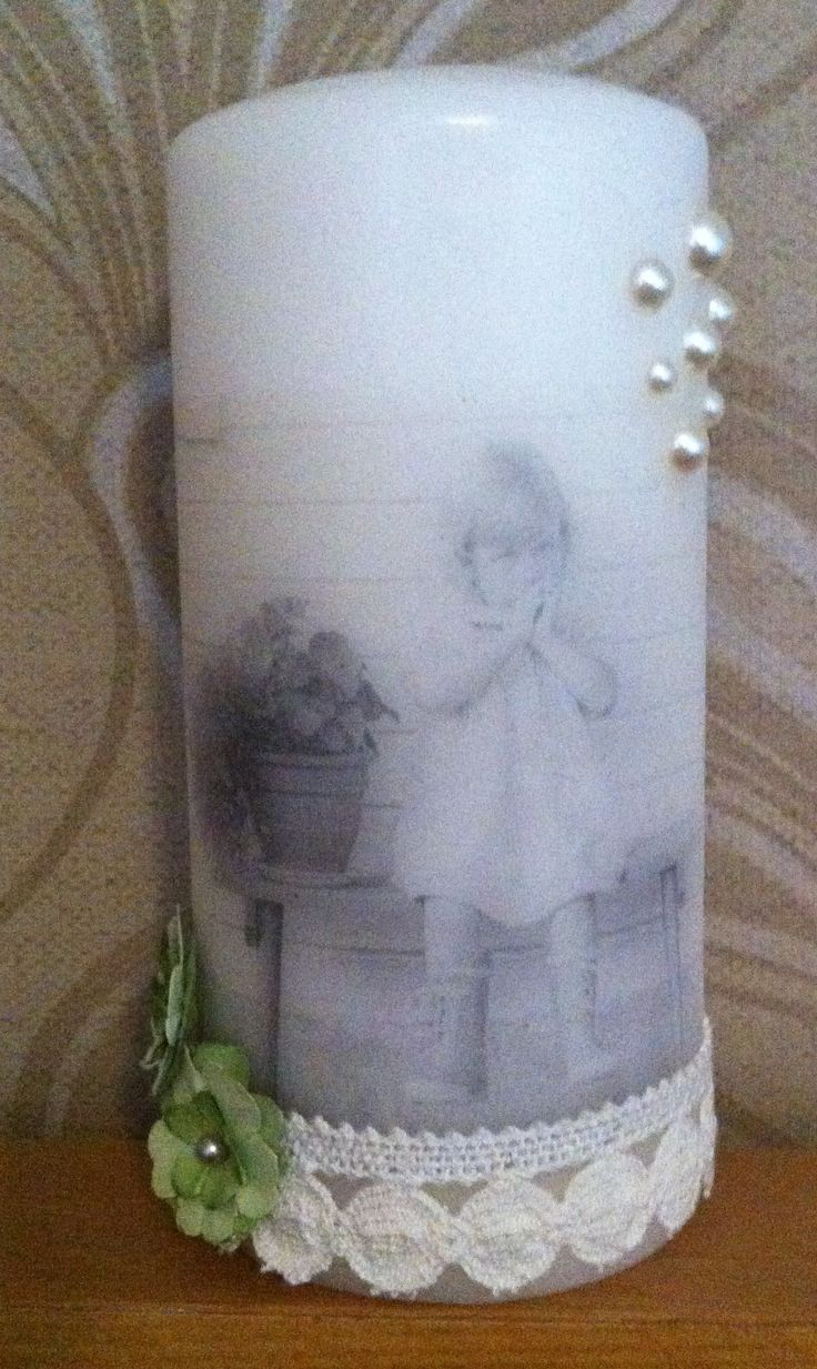 Candle vintage style. Decoupage.