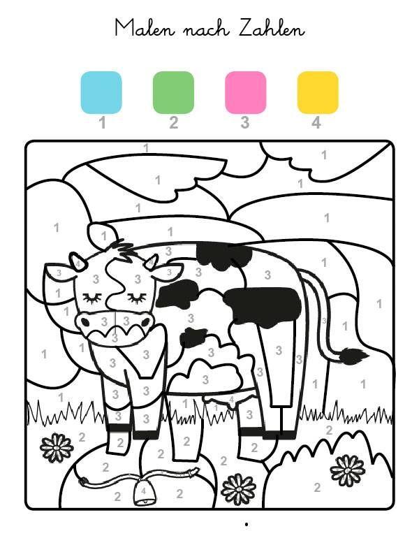 Die Felder Mit Der Zahl 1 Werden Blau Felder Mit Der Zahl 2 Grun Die Mit Der Zahl 3 Pink Und Alle Malen Nach Zahlen Kinder Malen Nach Zahlen Thema Bauernhof