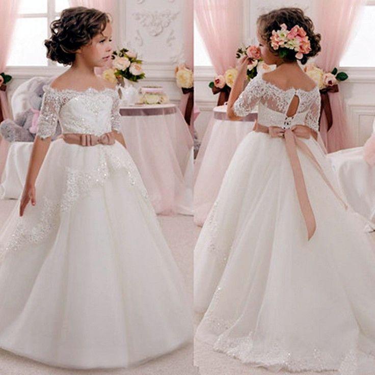 NEW Lace Tulle TUTU /Flower Girl Dress Wedding Easter Junior Bridesmaid Dress #FlowerGirlDress