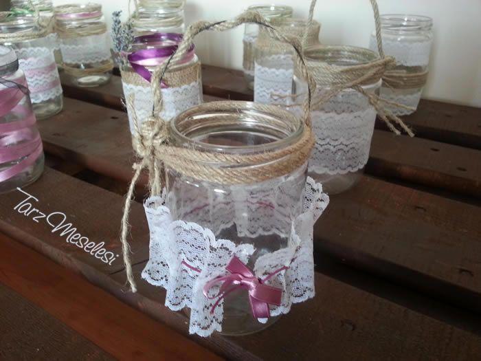 Jar decorating for boho wedding #jar #diy