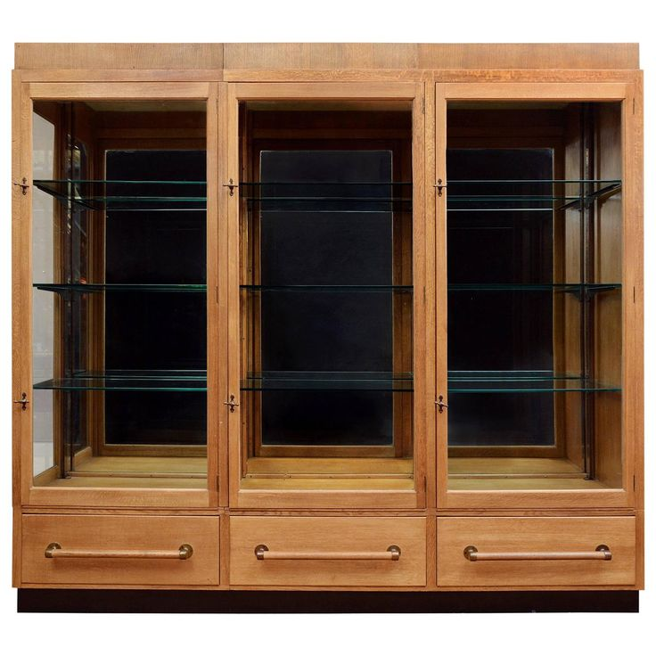 1930s Oak Display Cabinet | From a unique collection of antique and modern vitrines at https://www.1stdibs.com/furniture/storage-case-pieces/vitrines/