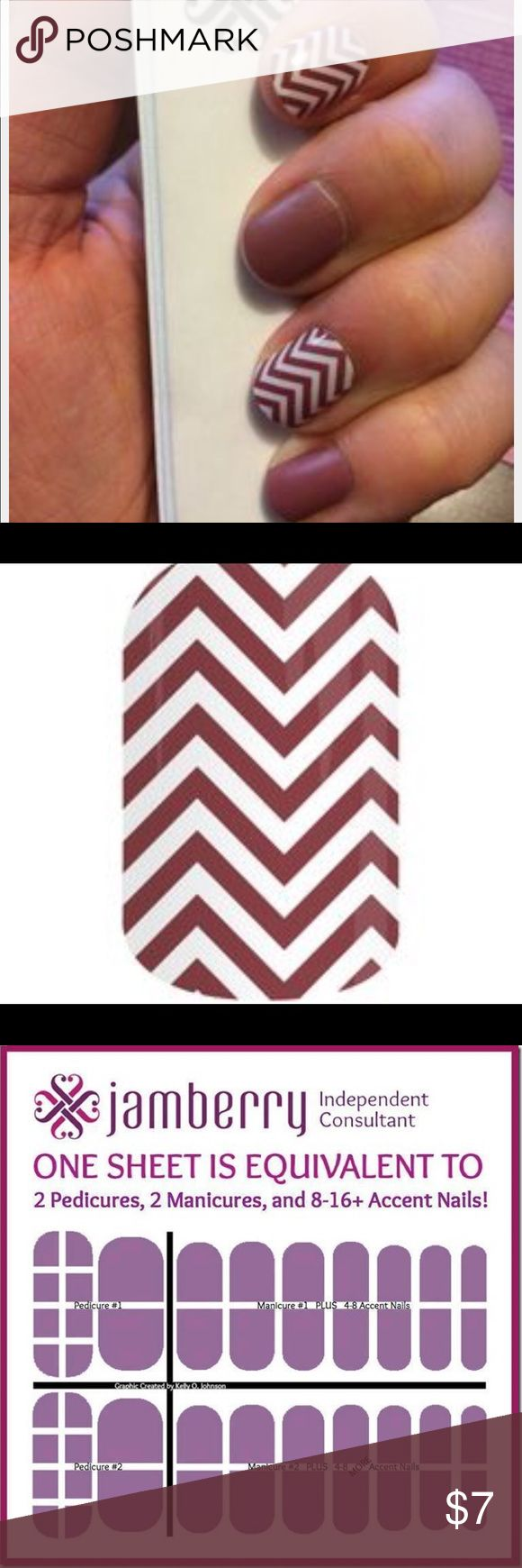 JAMBERRY RETIRE WRAP: MARSALA CHEVERON RETIRED JAMBERRY: MARSALA CHEVRON FULL SHEET GIVES YOU---  2 pedicures, 2 manicures and 8-16+ accent nails!     You may choose full or half sheet- if you want half sheet just select one of you want the full sheet choose our nail wraps are:  • Non-toxic  • 5-Free (Dibutyl Phthalate, Toluene, Formaldehyde, Formaldehyde Resin, or Camphor) • Easy to apply at-home • Requires ZERO dry time • Durable for long-lasting wear without chipping, peeling or fading…