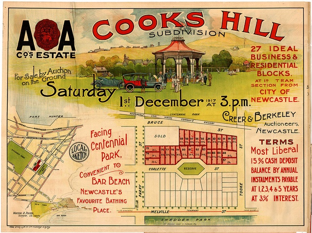 M62 - Cooks Hill Subdivision Plan, Newcastle, Saturday 1st December, 1917. by Cultural Collections, University of Newcastle, via Flickr