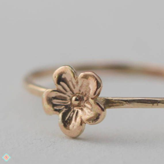 f342b2c6ab5ae Tiny Gold Flower Ring, Stacking Ring, Gold Ring This is a beautiful ...