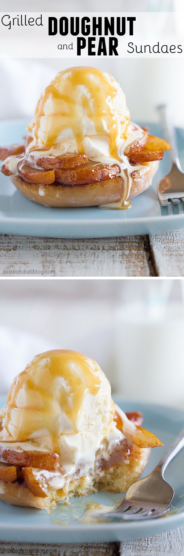 Grilled Doughnut and Pear Recipe - This sundae recipe has glazed doughnuts lightly grilled then topped with cinnamon sugar coated grilled pears, vanilla ice cream and caramel sauce.