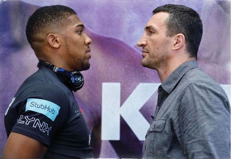 The #faceoff between @anthony_joshua and @klitschko_official is an intense one and this fight is sure to be equally intense.  credit @bigioshotya #joshuaklitschko #boxing #boxeo #boxe #boxeo #heavyweight