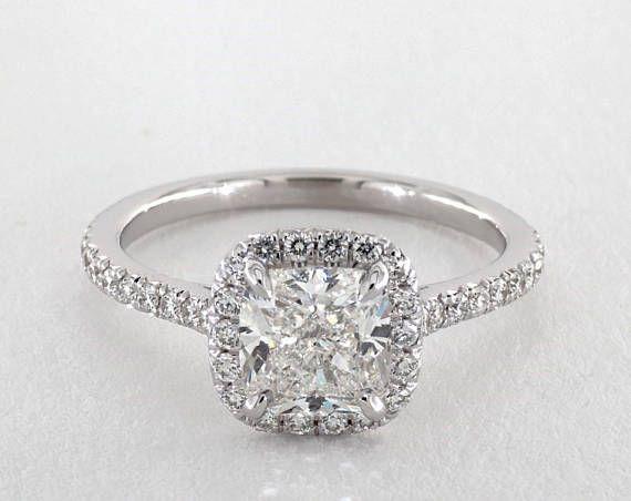 Kissen schneiden Halo Diamant Verlobungsring in Weißgold 14kt