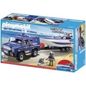 Playmobil 5187 - Zestaw Policyjny Pojazd Terenowy z Motorówką i Naczepą. Zestaw z możliwością zabawy w wodzie