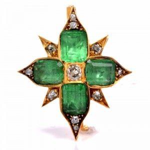 Antique 9.25ct Emerald Diamond 18K Gold Star Pendant & Pin | Dover Jewelry