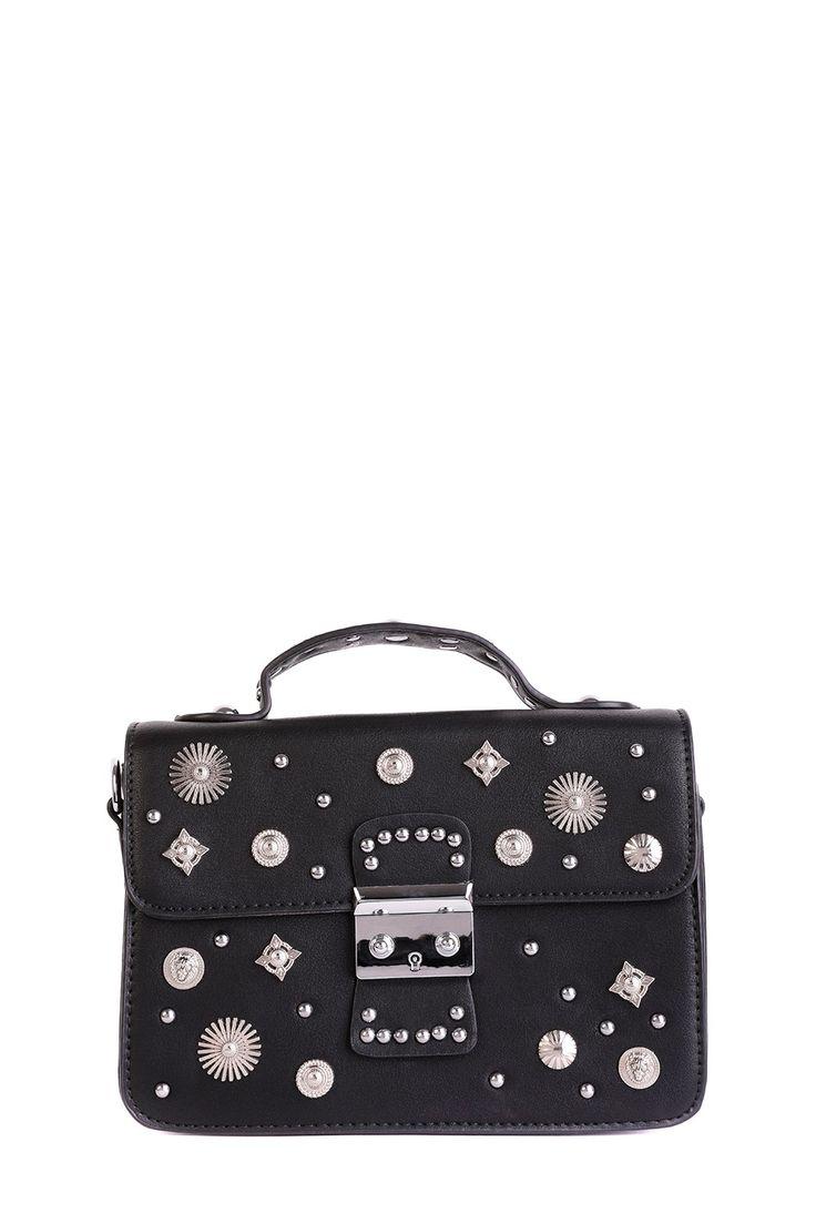 Gloria Black Stud Detail Bag