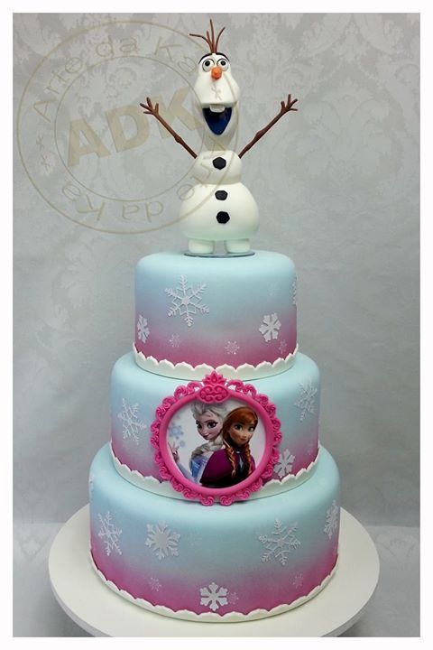 Frozen Cake I would do two tiers and use the Disney figurines form the store to top it.